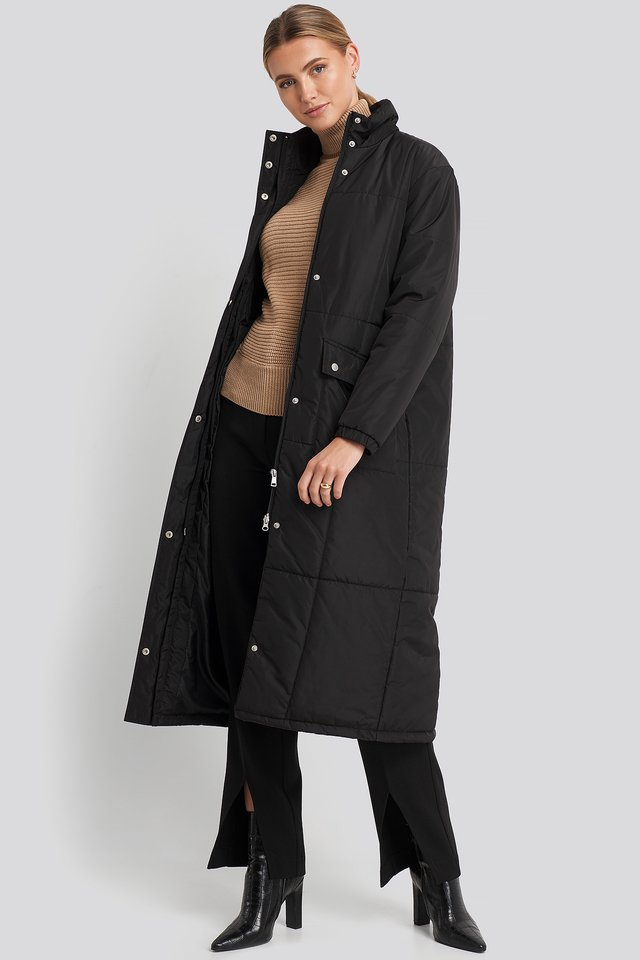 Long Padded Jacket Black