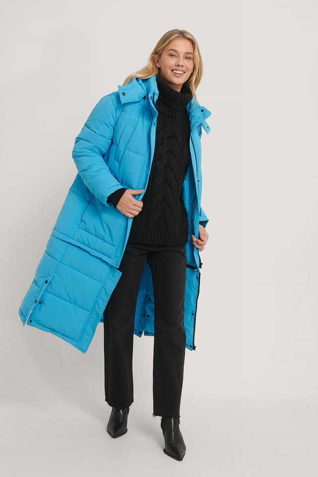 Long Padded Zipper Jacket Blue