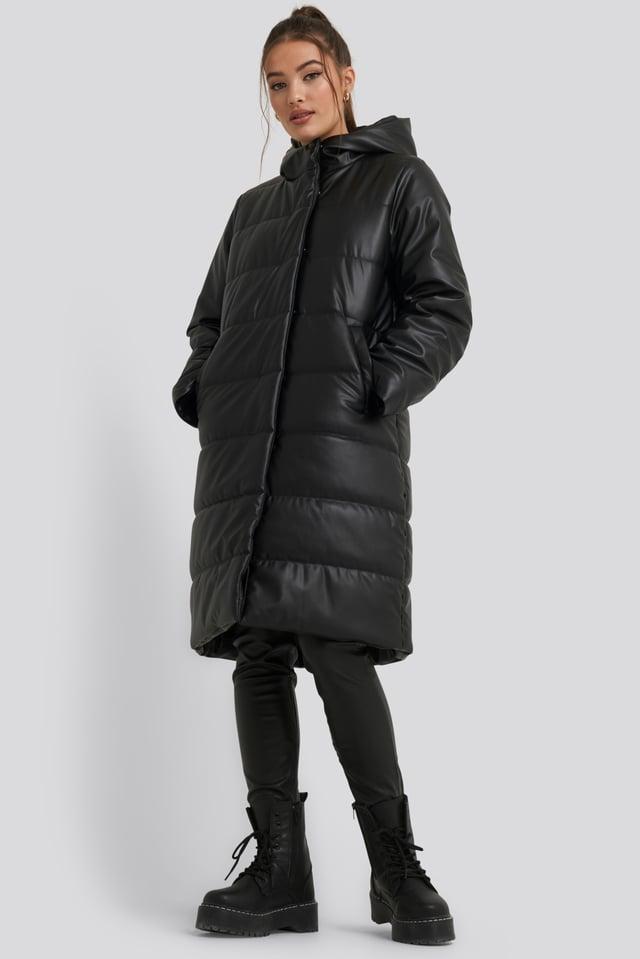 Long PU Padded Jacket Black