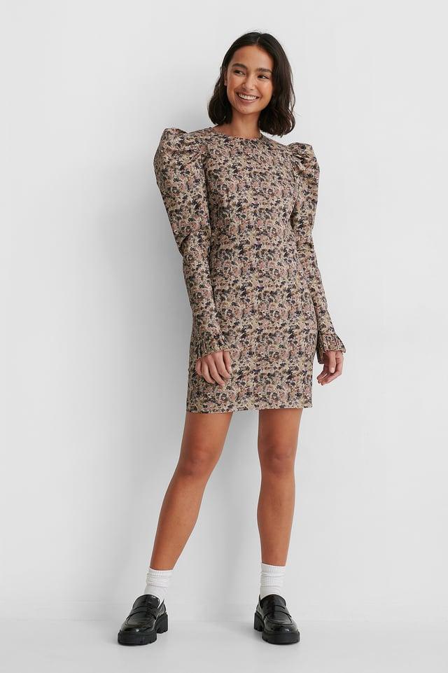 Dark Grey/Pink Flowers Long Puff Sleeve Mini Dress