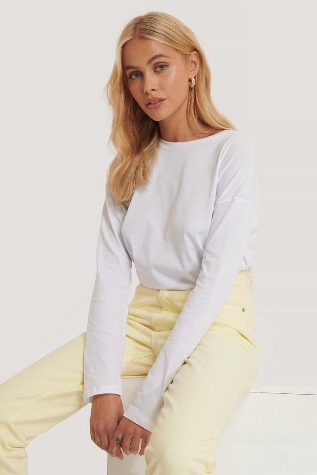 White Long Sleeve Basic Top