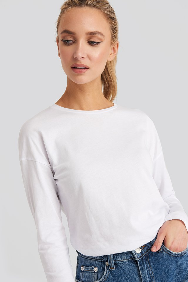 Long Sleeve Basic Top White