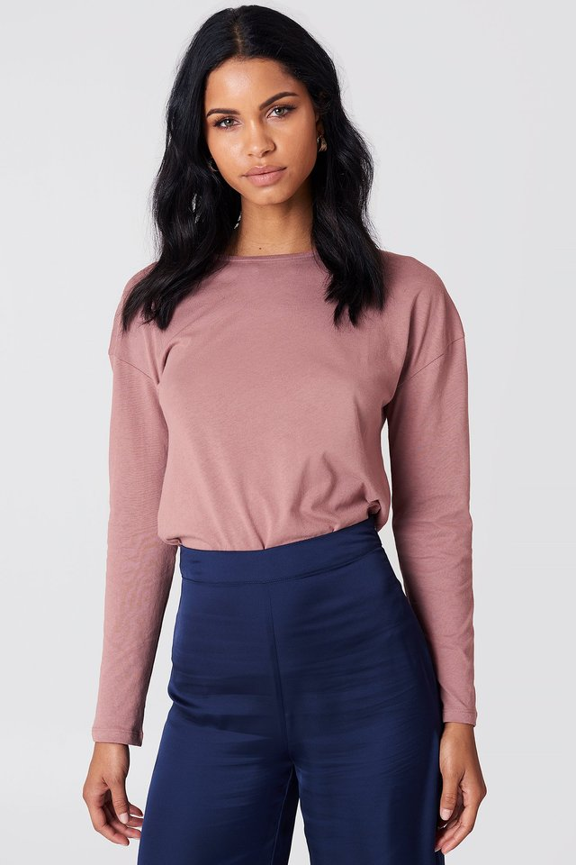 Long Sleeve Basic Top Dusty Dark Pink