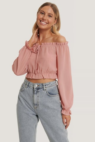 Dusty Pink Top Corto De Manga Larga Con Volantes