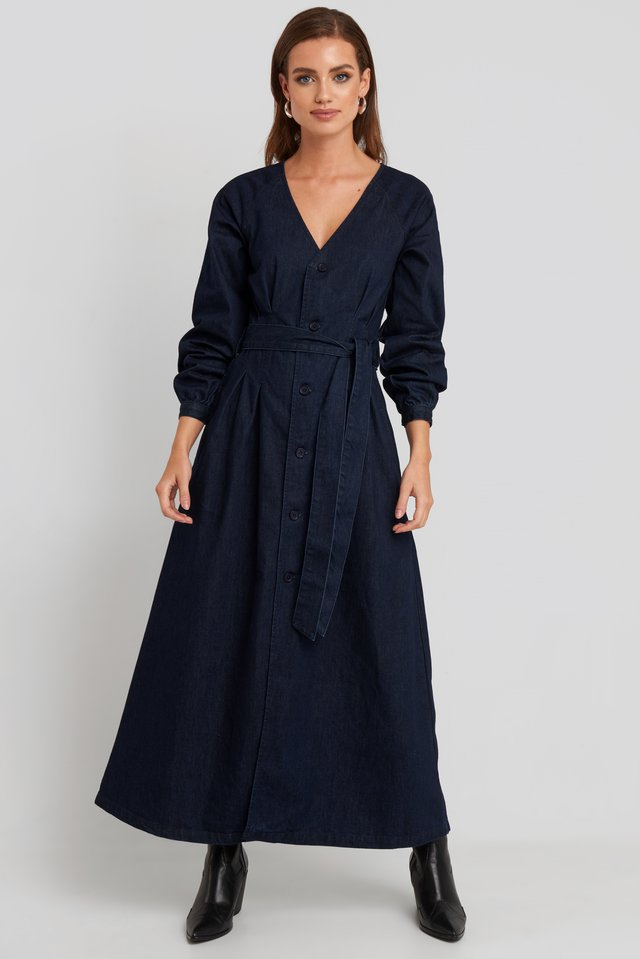 Long Sleeve Denim Dress Dark Blue