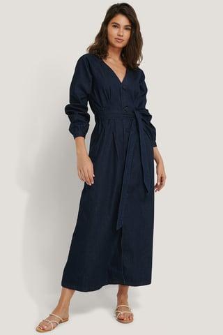 Dark Blue Long Sleeve Denim Dress
