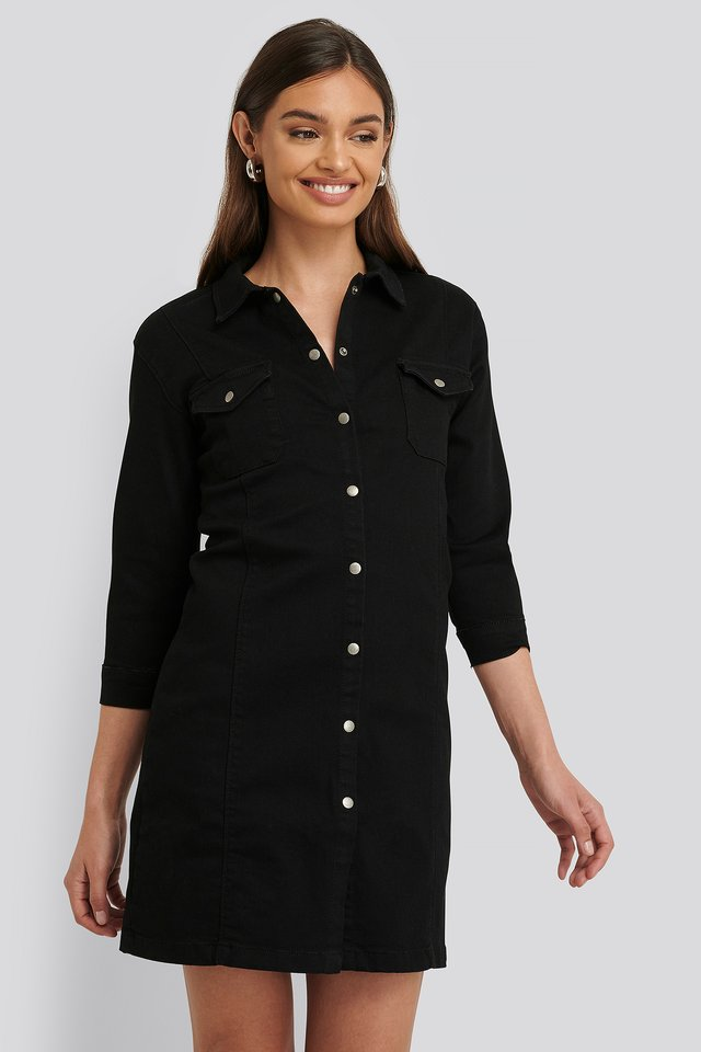 Long Sleeve Denim Dress Black