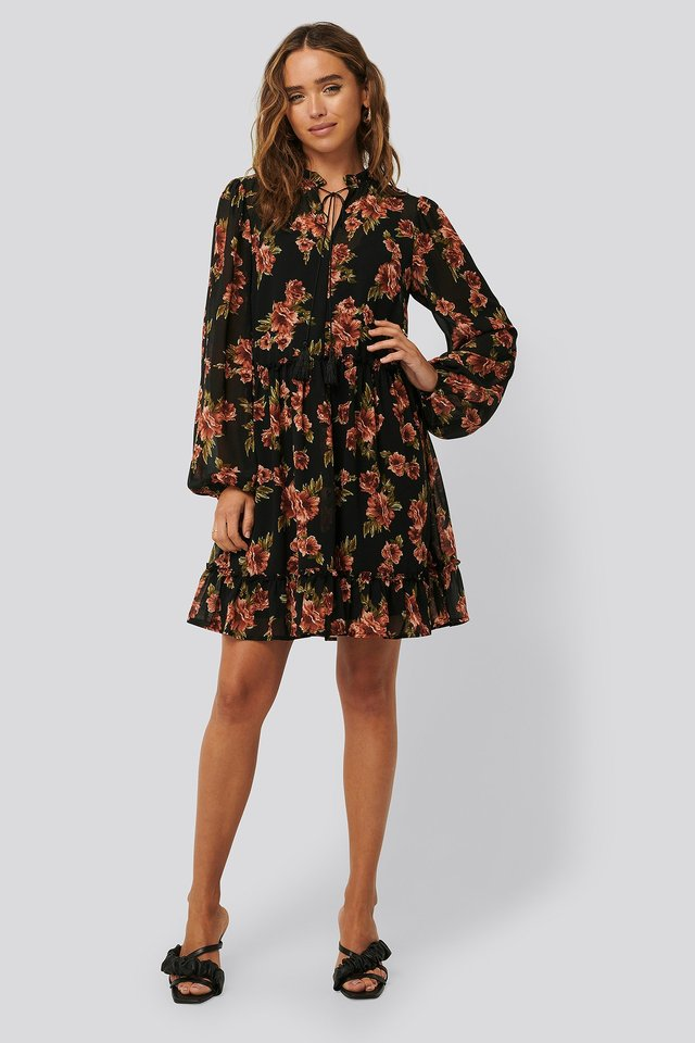 Long Sleeve Flowy Mini Dress Black/Red Flower