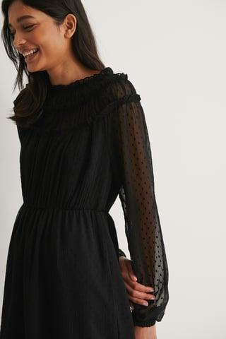 Black Long Sleeve Frill Dobby Dress