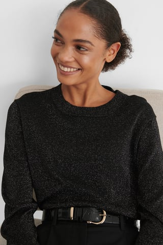 Black Long Sleeve Glitter Knitted Sweater
