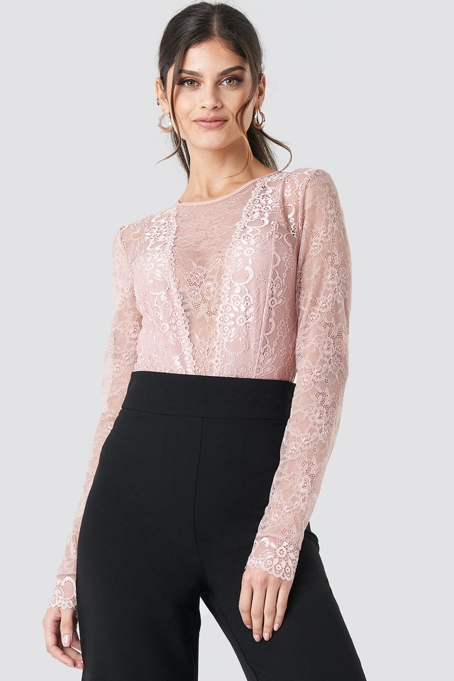 Long Sleeve Lace Bodysuit Pink Umber