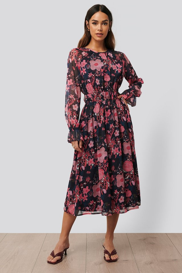 Long Sleeve Midi Dress Dark Poppy Flower