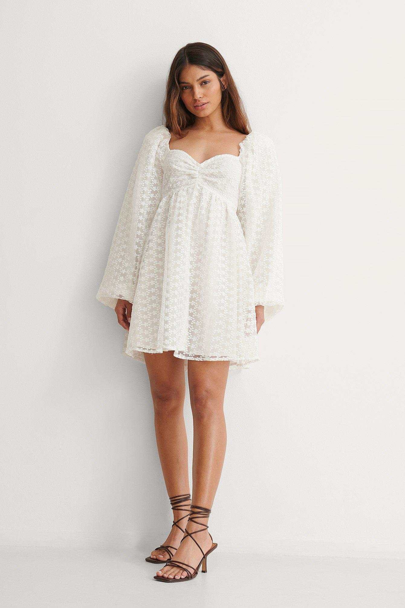 White Long Sleeve Mini Dress