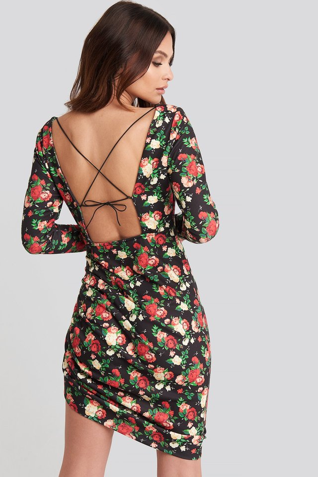 Long Sleeve Open Back Jersey Dress Floral Print