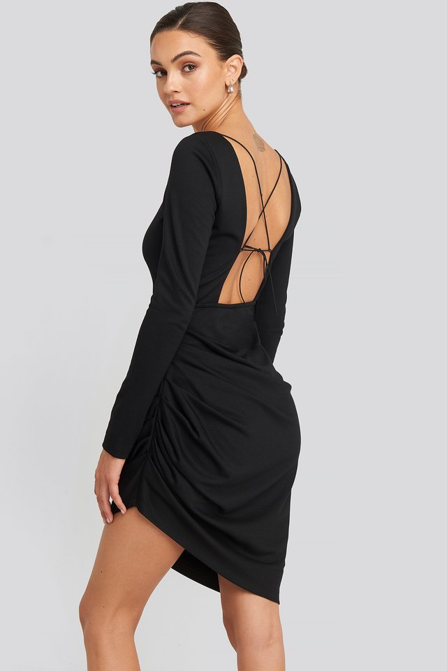 Long Sleeve Open Back Jersey Dress Deep Black