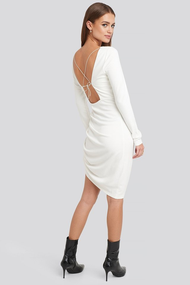 Long Sleeve Open Back Jersey Dress Off White