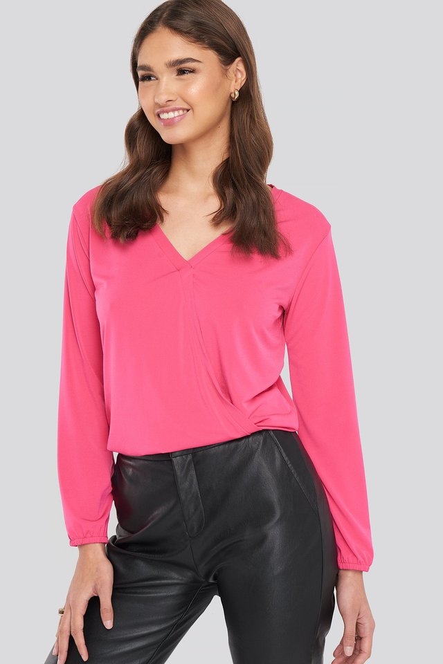 Long Sleeve Overlap Blouse Pink