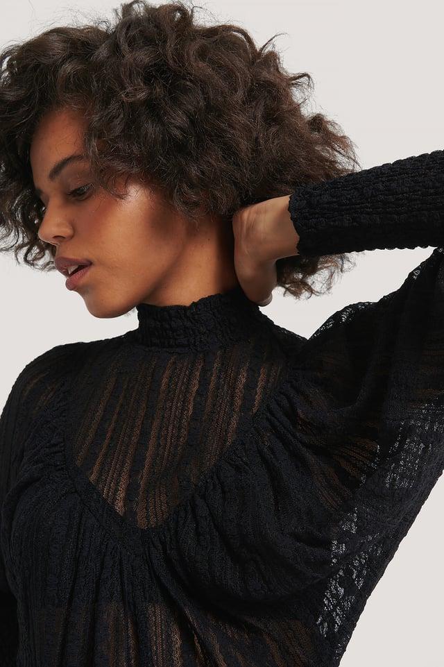 Black Long Sleeve Pattern Knit Sweater