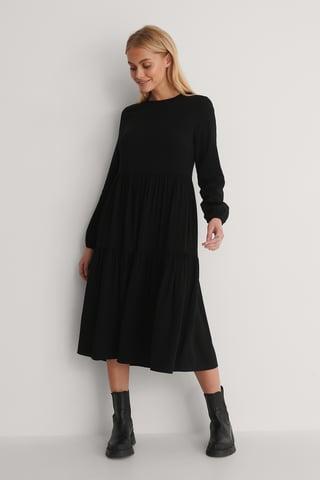 Black Klänning Med Lång Ärm