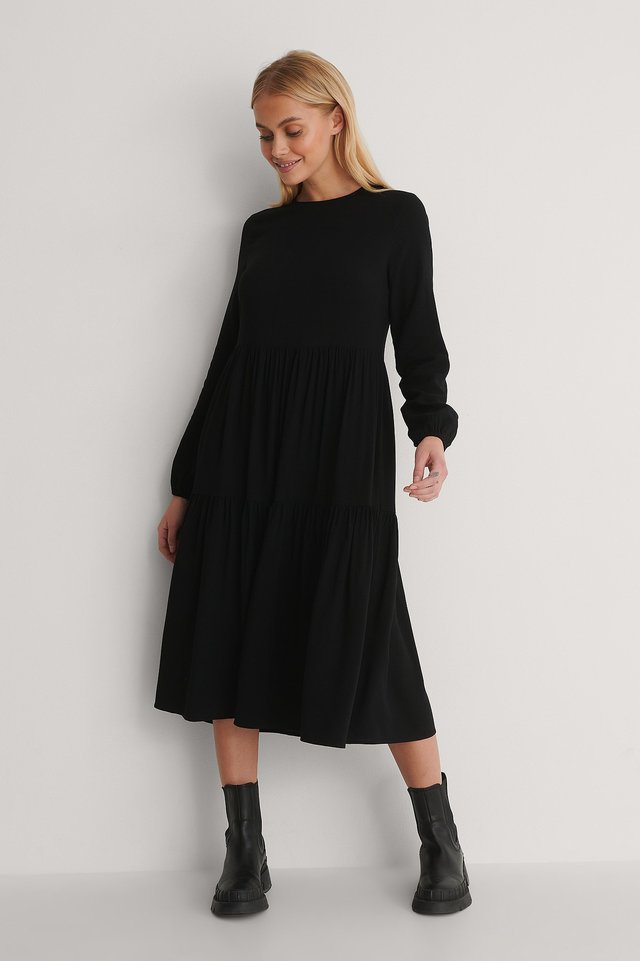 Black Long Sleeve Printed Flounce Dress