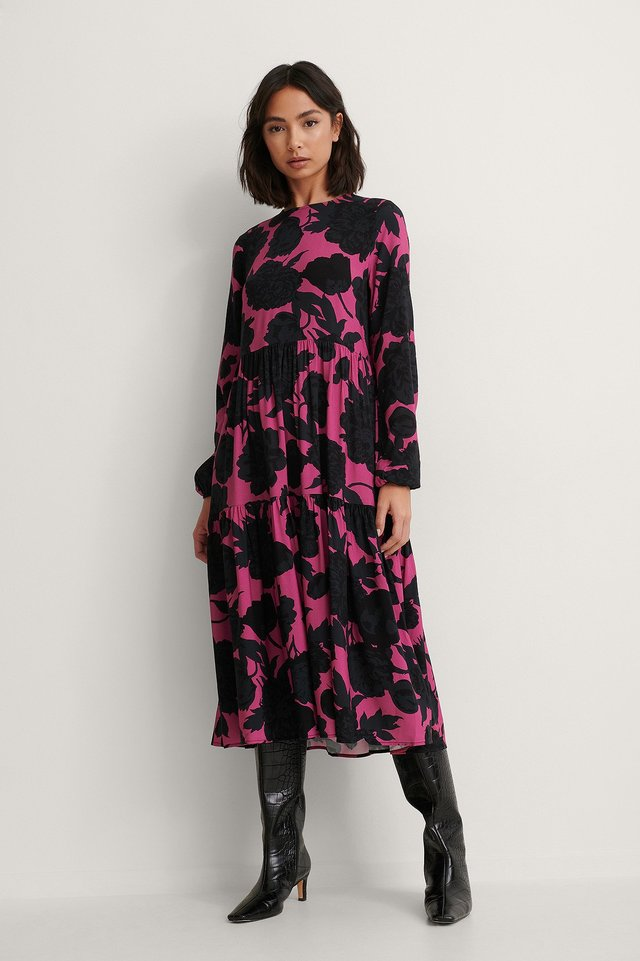 Black/Pink Print Long Sleeve Printed Flounce Dress