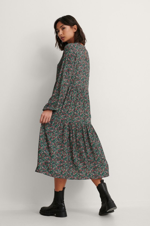 Blue Print Long Sleeve Printed Flounce Dress