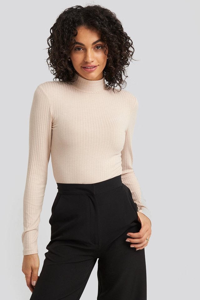 Long Sleeve Ribbed Polo Top Beige