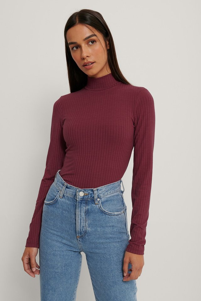 Long Sleeve Ribbed Polo Top Burgundy
