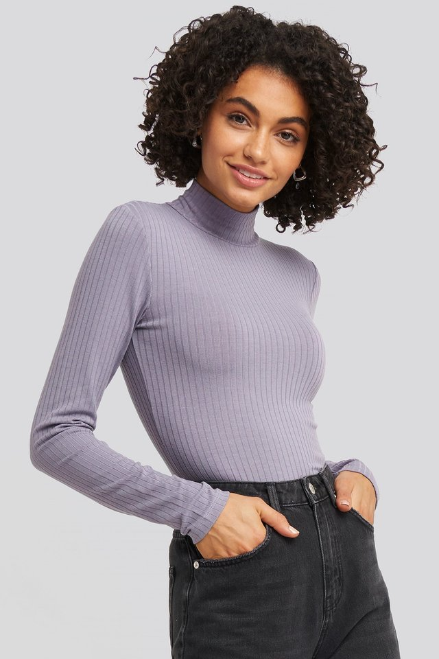 Long Sleeve Ribbed Polo Top Dark Purple