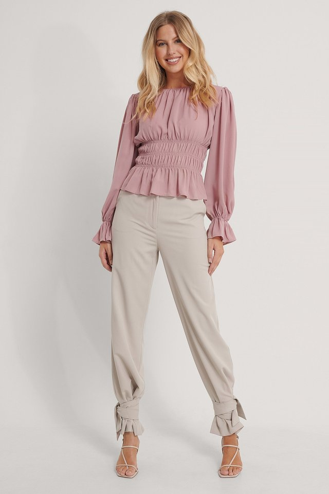 Long Sleeve Smock Waist Top Dusty Pink