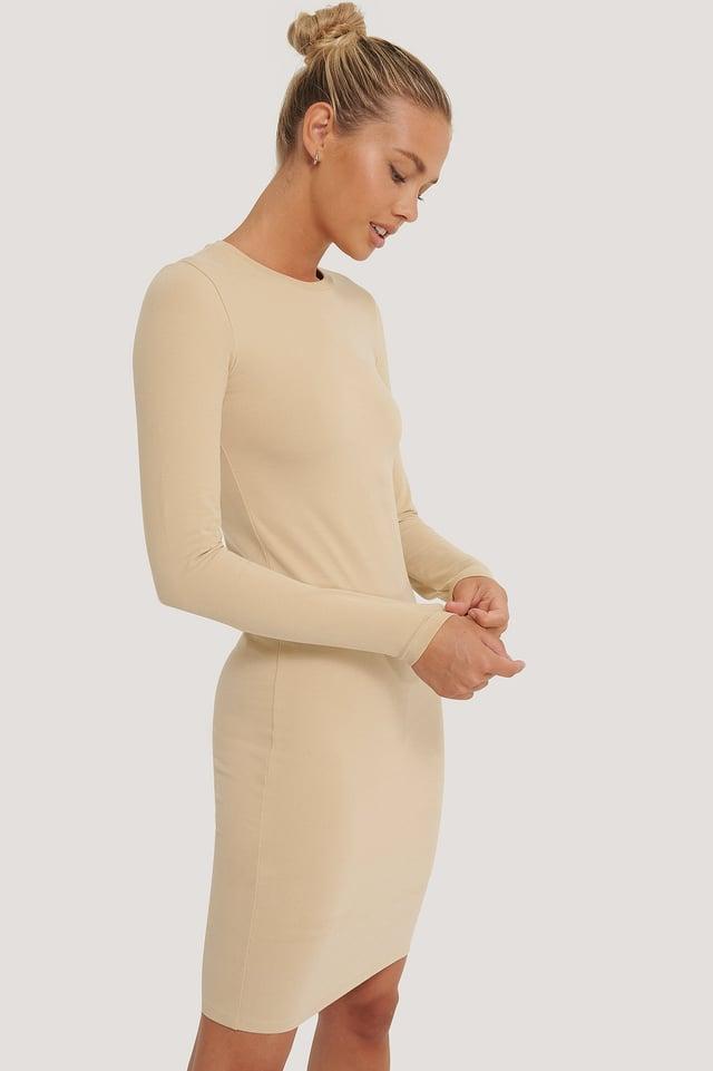 Beige Long Sleeve Soft Dress