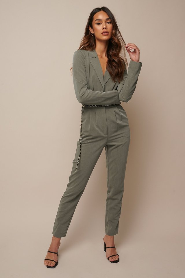 Long Sleeve Suit Jumpsuit Khaki