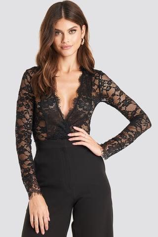 Black Long Sleeve V-neck Bodysuit