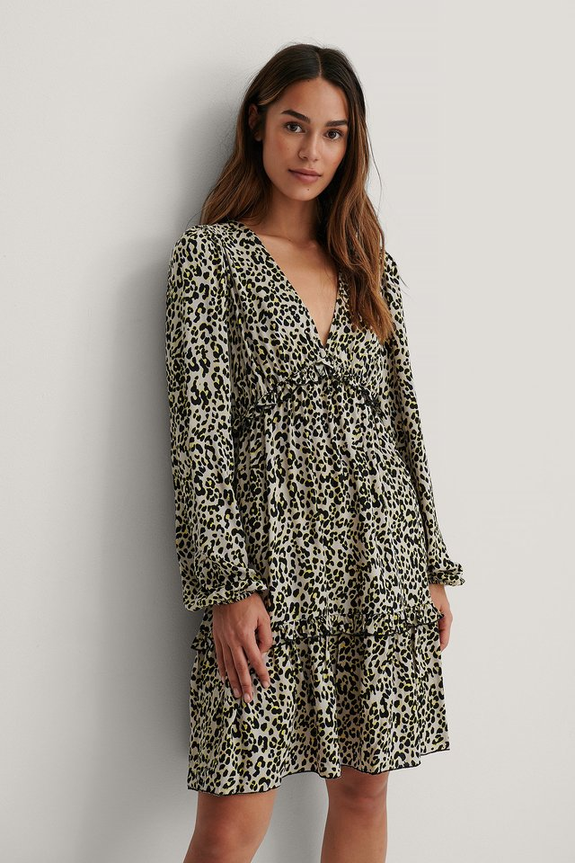 Leopard Long Sleeve V-neck Frill Dress