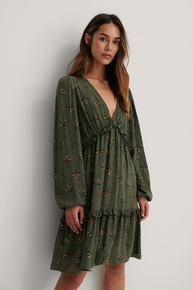 Long Sleeve V-neck Frill Dress Green Flower