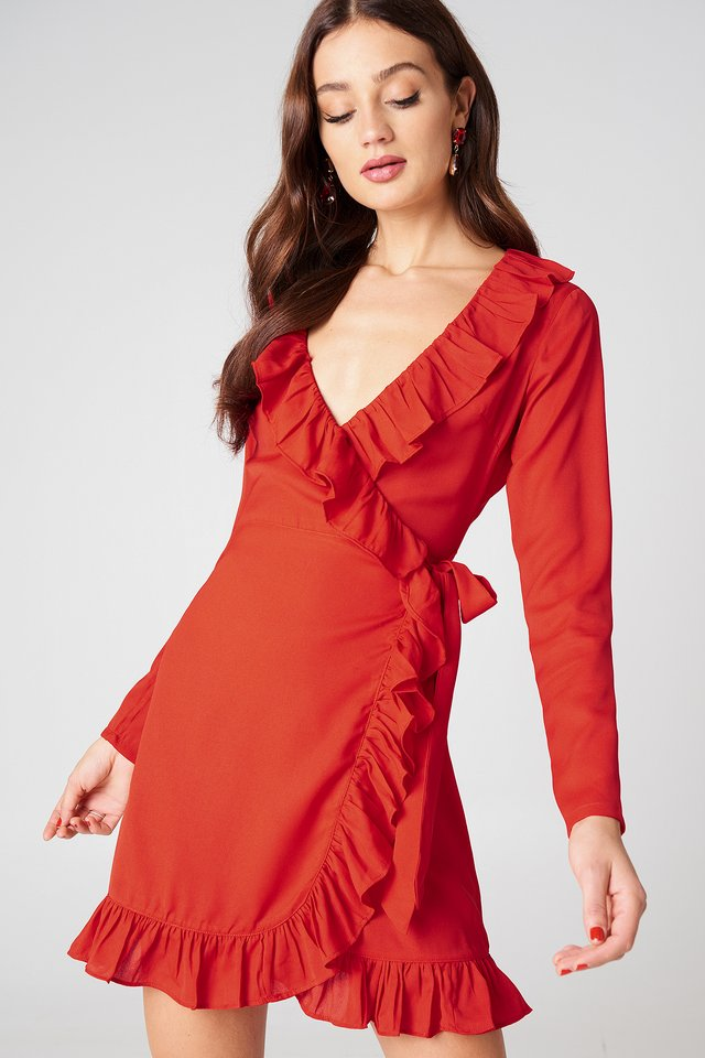 Long Sleeve Wrap Frill Dress Red
