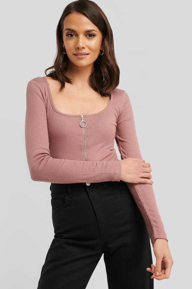 Dusty Dark Pink Long Sleeve Zipped Top