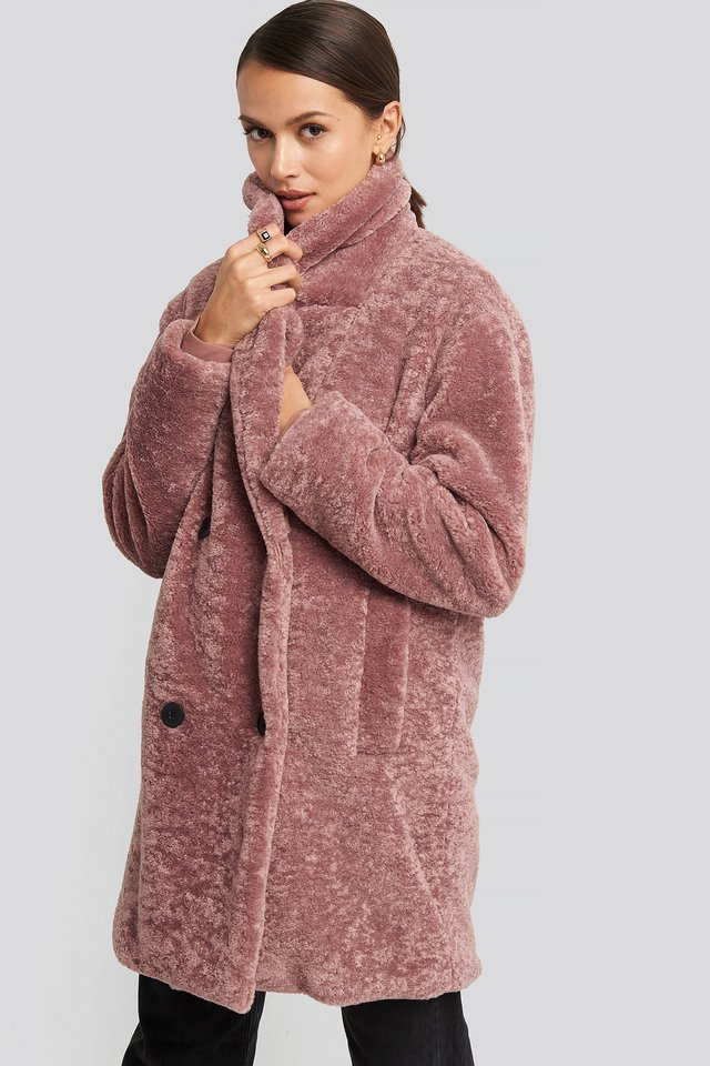 Long Teddy Coat Dusty Dark Pink