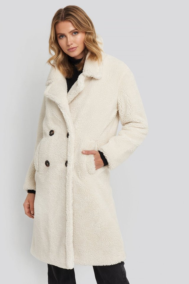 Long Teddy Coat Offwhite