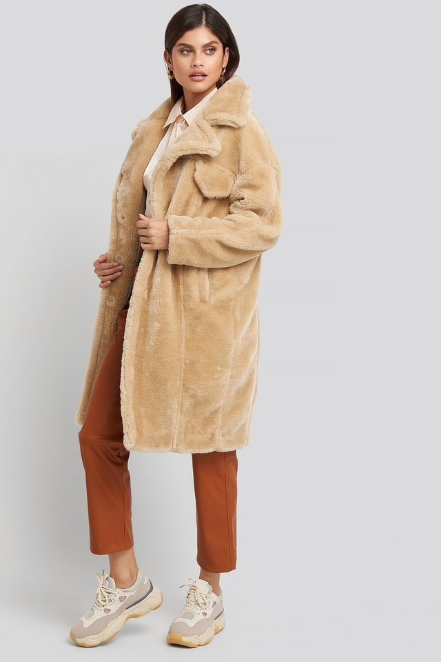 Long Teddy Fur Jacket Beige