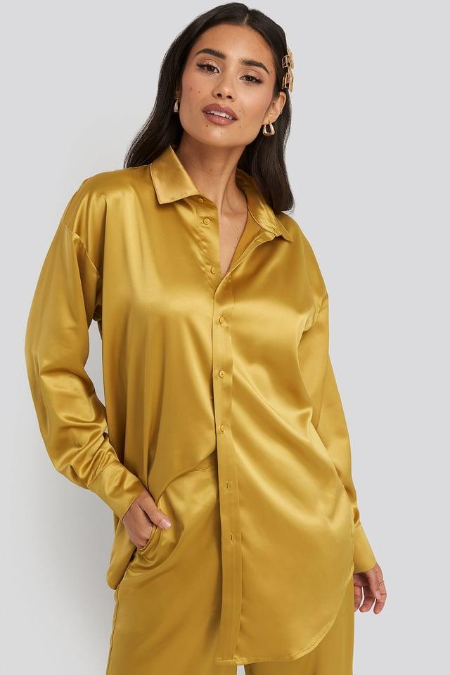 Yellow Longline Satin Shirt