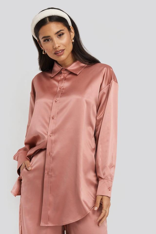 Longline Satin Shirt Dark Pink