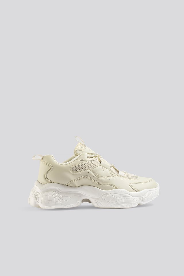 Loop Lacing Structured Trainers Nude