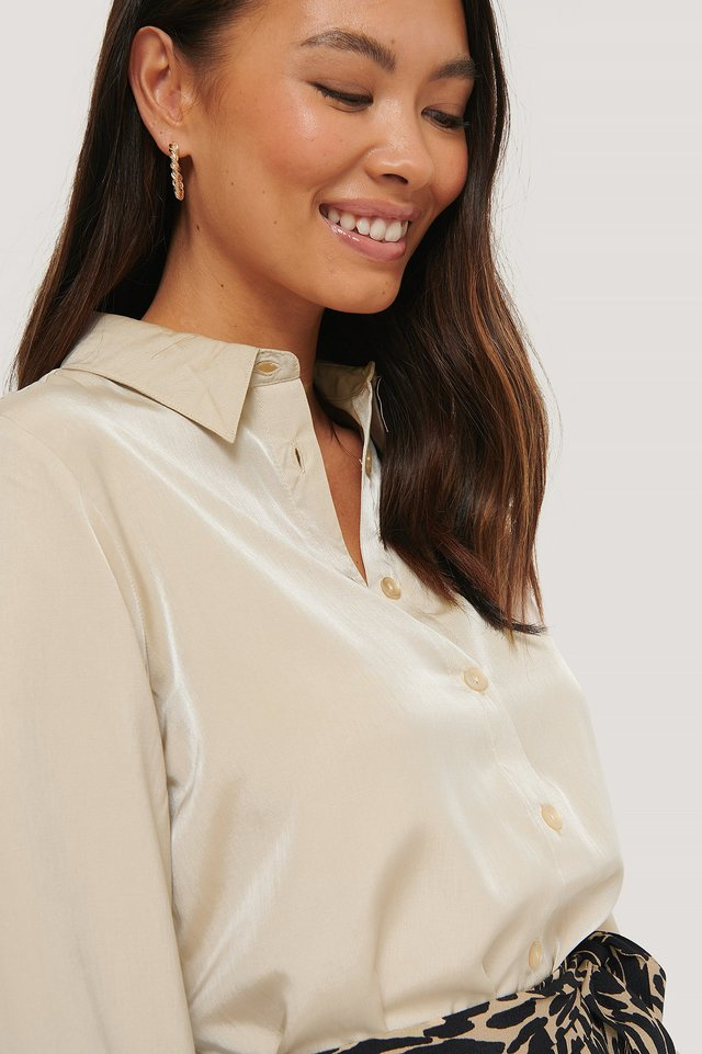 Loose Fit Blouse Beige