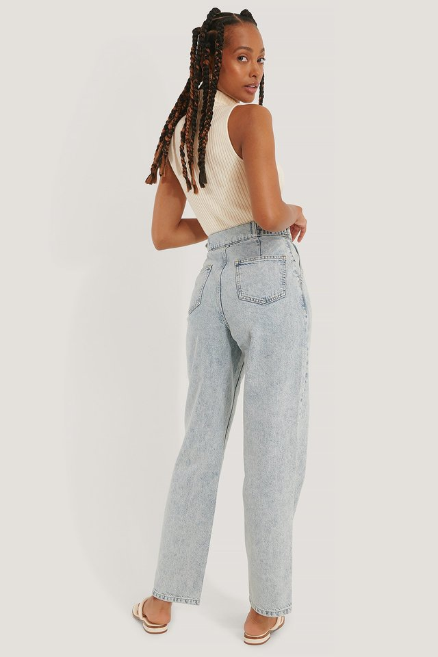 Light Blue Organic Loose Fit Buckle Detail Jeans
