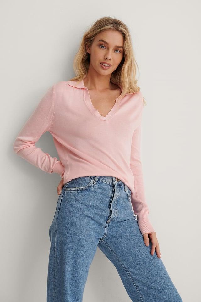 Light Pink Sweter Z Dzianiny