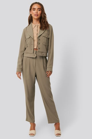 Taupe Loose Fit Cropped Pants
