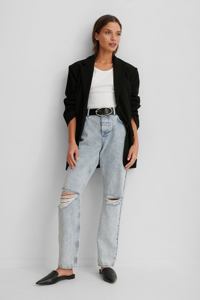 Light Blue Loose Fit Destroyed Jeans