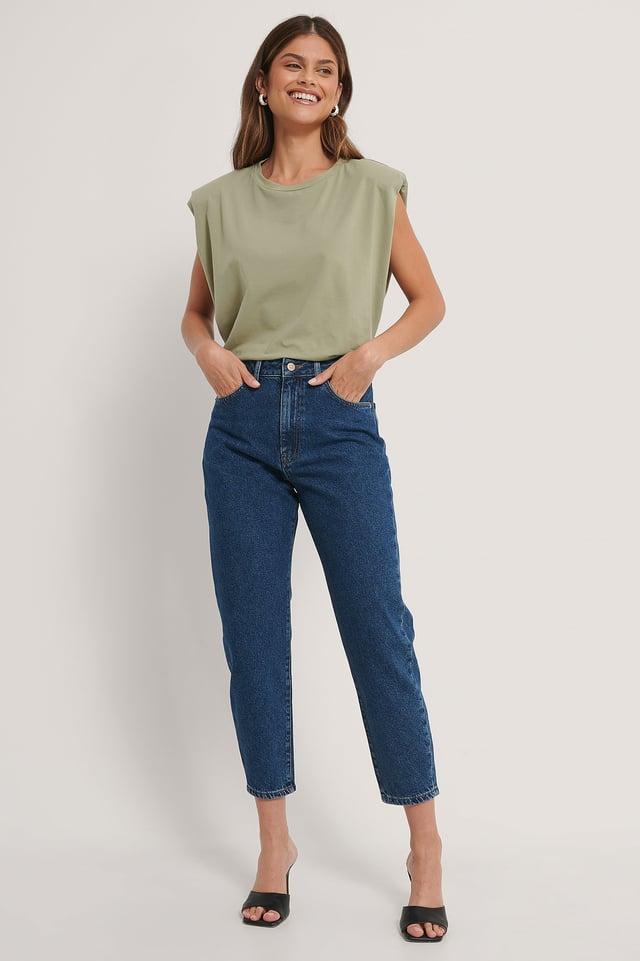 Dark Blue Organic Loose Fit Mom Jeans