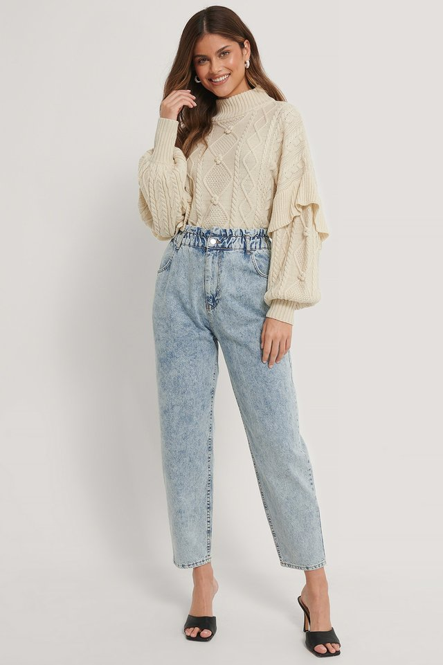 Loose Fit Paperwaist Jeans Light Blue